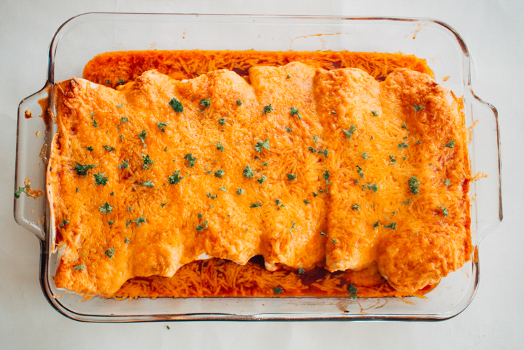 9x12 dish of Cheesy Chicken and Black Bean Enchiladas