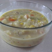 Creamy Corn Chowder: A Lighter Version {Freezer Meal}
