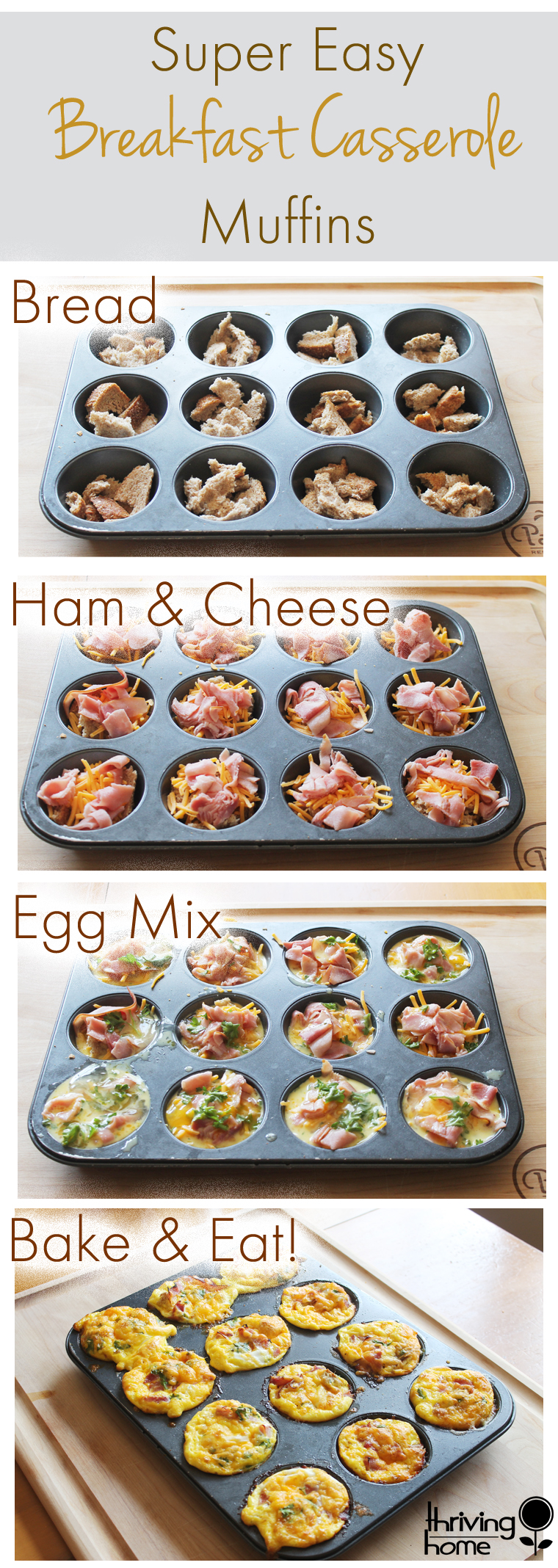 Step by step images on how to make breakfast casserole muffins