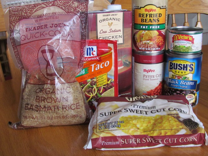 Vegetarian Tortilla Soup ingredients including rice, taco seasoning, corn, beans, vegetable stock, tomatoes