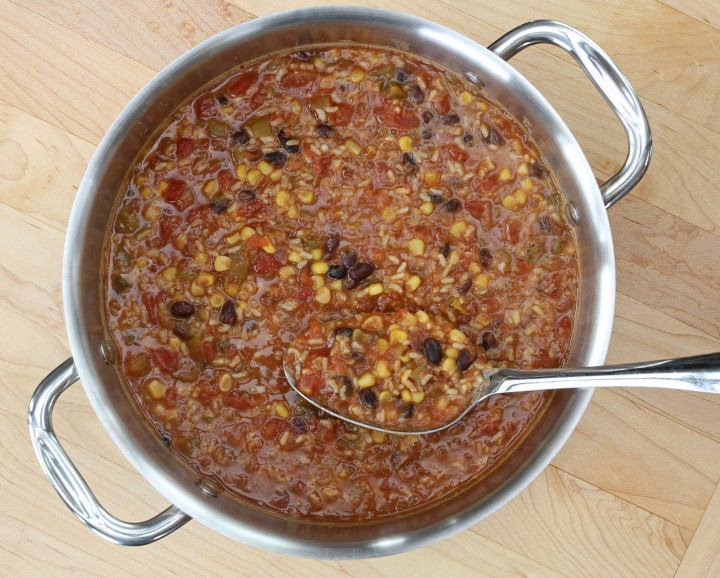 gluten-free Vegetarian Tortilla Soup in a large stock pot