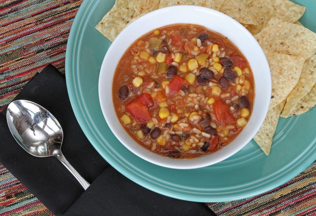 Vegetarian Tortilla Soup - A 10 minute one pot wonder!
