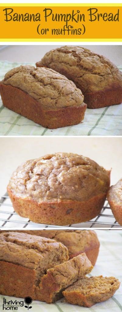 The BEST healthy whole wheat banana pumpkin bread recipe ever!