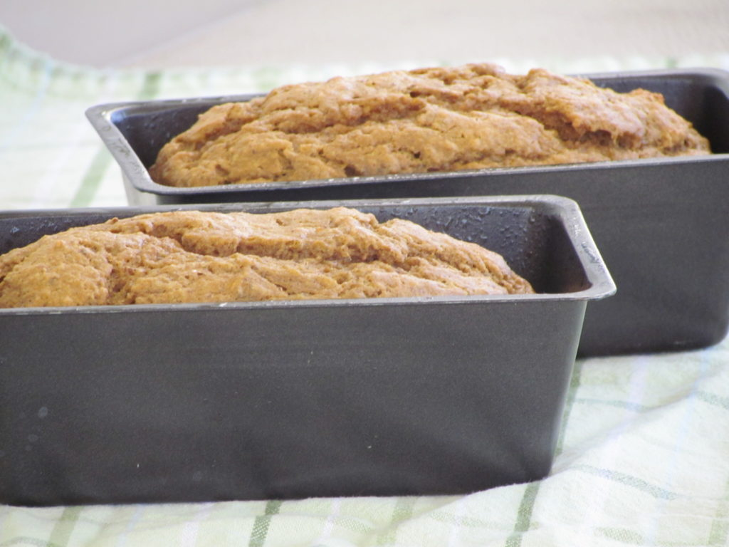 banana pumpkin bread loaves in pans