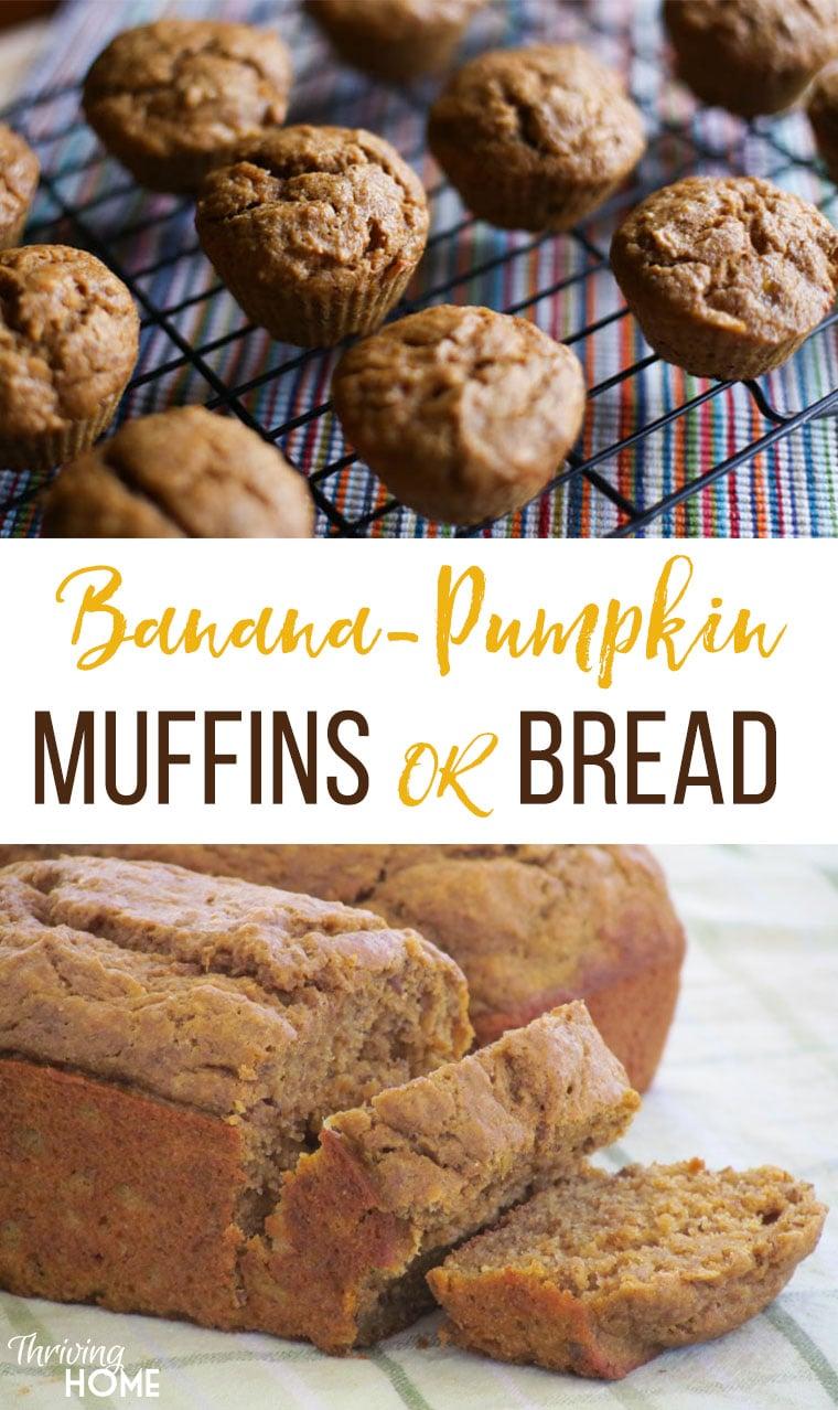 The BEST healthy whole wheat banana pumpkin bread recipe ever! Freezer friendly too!