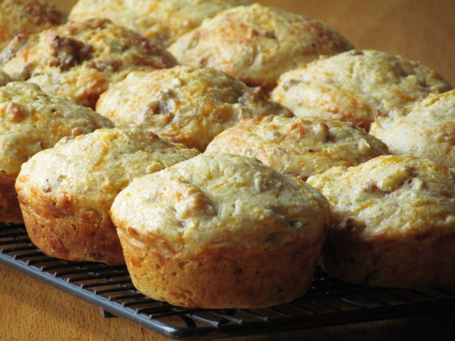These are a cornbread-type muffin with meat, eggs, cheese and vegetables. Perfect to freeze and use on a busy weekday morning!