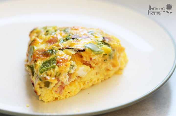 This oven omelet is easy to make and feeds a large crowd. It's also incredibly versatile - pack it with any breakfast meats or veggies!