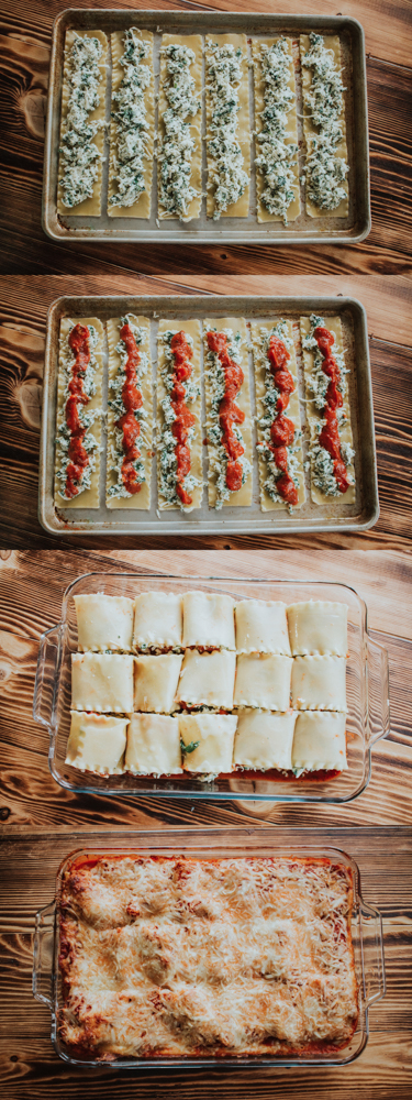 Step by step image of how to make spinach lasagna rolls
