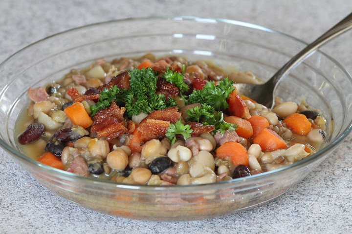 "Ham and Bean Soup Recipe: Did you know beans are considered a ""superfood""? This Ham and Bean Soup is hardy, delicious and perfect for a cold winter day. Plus, it's unbelievably cheap! #realfood #freezermeal #superhealthy"