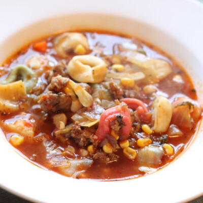 Italian Sausage & Tortellini Soup {Freezer Meal}