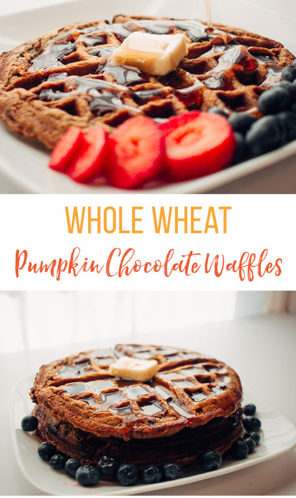 whole wheat pumpkin waffle on a white plate