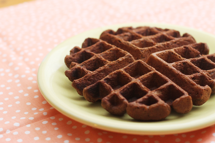 These pumpkin chocolate waffles are made with whole wheat flour and lots of sneaky nutrition. They're soon to become your next family favorite.