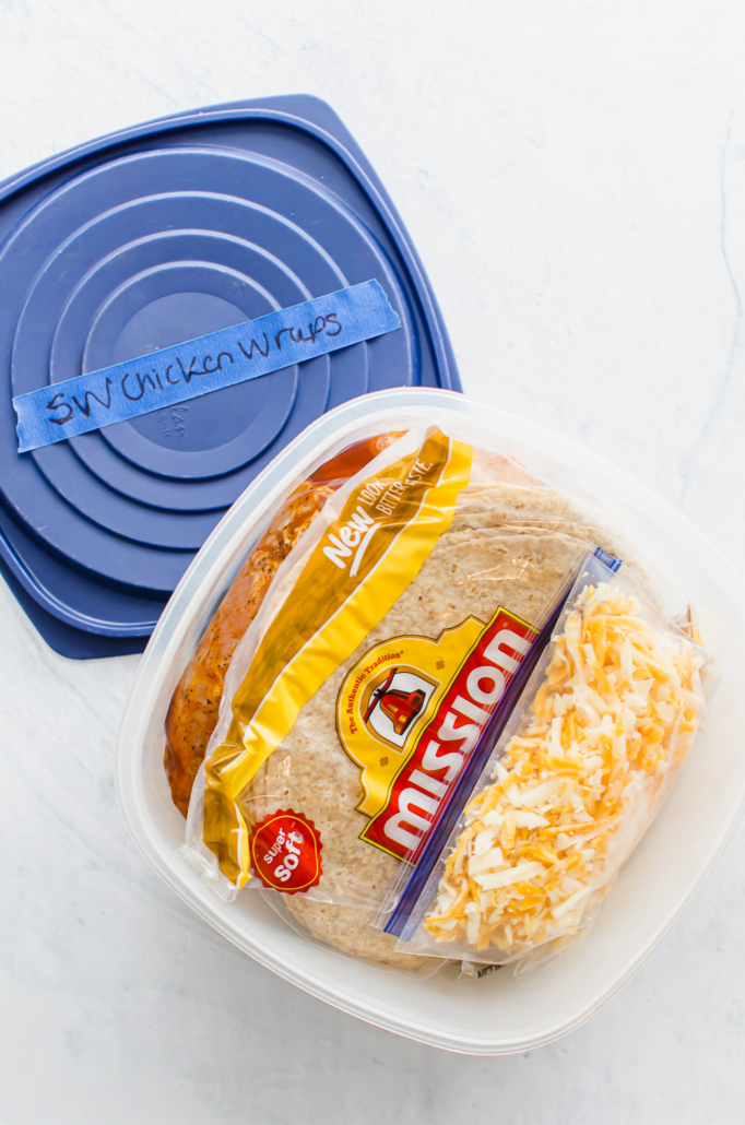 Southwest chicken wraps packaged as a freezer meal