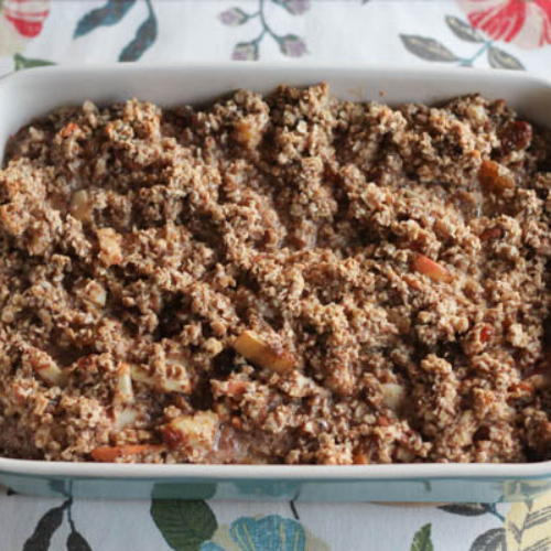 """This Baked Oatmeal is hearty, healthy, delicious, and fairly adaptable to whatever ingredients you have on hand. Plus, leftovers keep well in the fridge for several days. Serve it up as a tasty start to your day or as a """"breakfast-for-dinner"""", along with bacon and a fruit salad."""