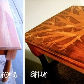 Thrifty Decorating Idea: Side Table with Stain Design