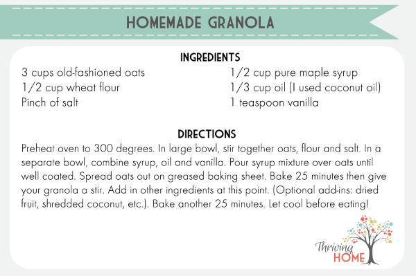 Homemade granola printable
