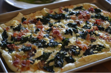 kale, yukon golds, and bacon pizza