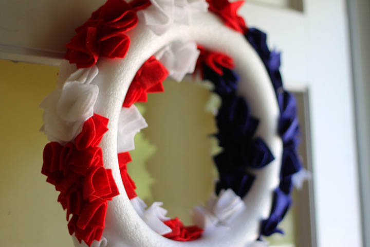 Back of fourth of july wreath