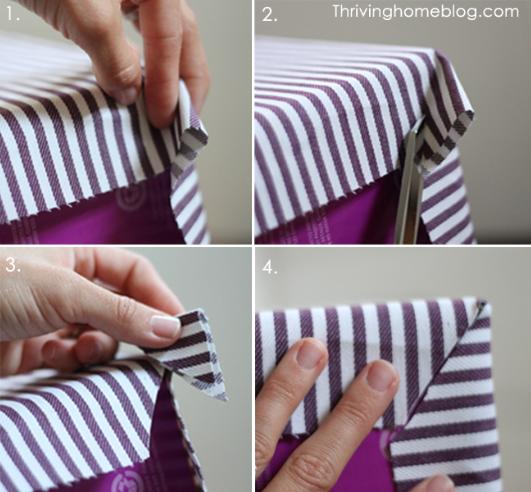 Applying fabric to corners of box