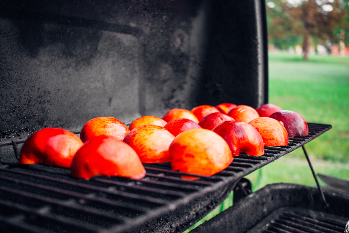 peaches on a grill