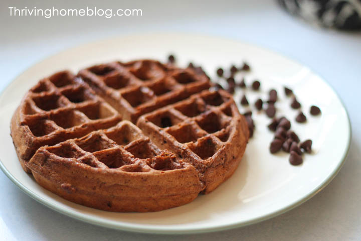 These homemade chocolate waffles with a healthy spin will leave your kids asking for more! Healthy and delicious - it's a win for everyone!