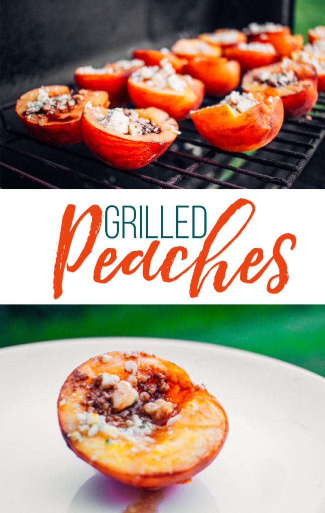grilled peaches on a grill and on a plate.