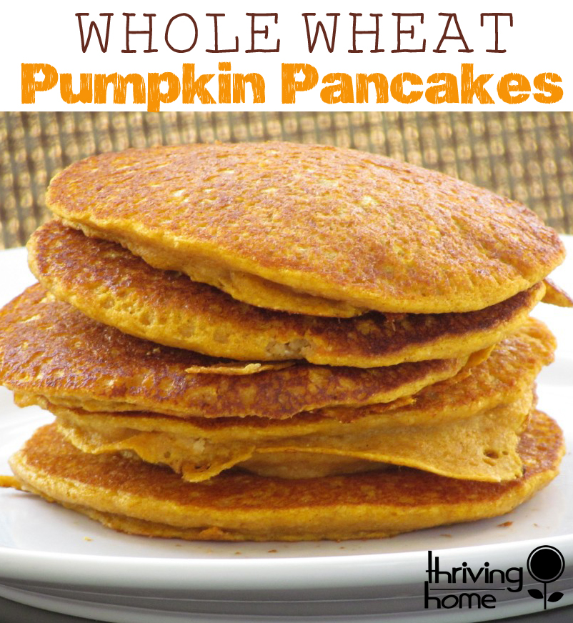 Whole Wheat Pumpkin Pancakes. An easy, nutritious, freezer-friendly breakfast idea that the whole family will devour.