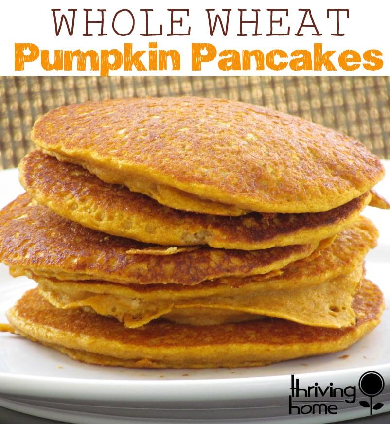 Whole Wheat Pumpkin Pancakes. An easy, nutritious, freezer-friendly breakfast idea that the whole family will devour.