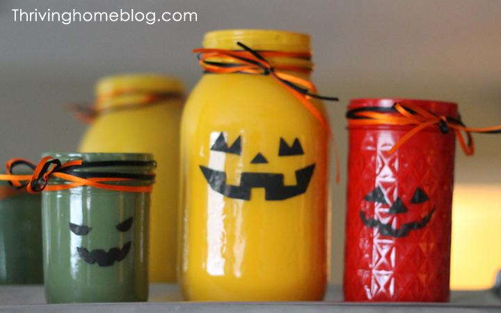 halloween decor-painted jars