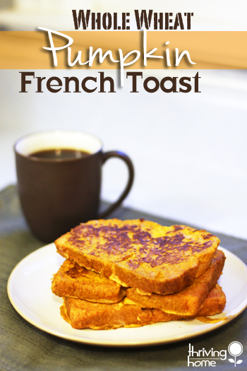 Freezer Friendly Pumpkin Whole Wheat French Toast is such a nutritious and hearty way to start your day. Very simple to make and a breakfast that sneaks in some nutrition.