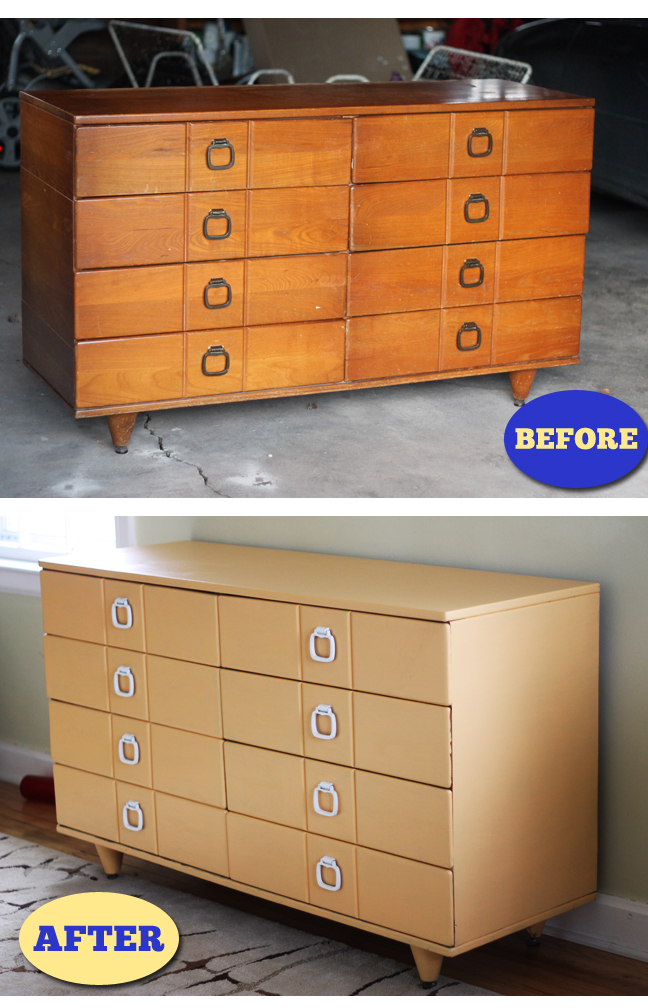 Before and After Dresser to Changing Table