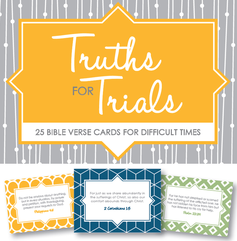 These printable 25 Bible Verse Cards for Difficult Times offer the hope and comfort that only God's promises can during a time of suffering. Download and print for a friend in need.