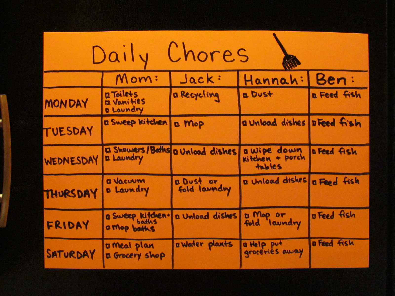 how to make a chore list