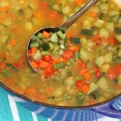 Garden Vegetable and Lentil Soup {Freezer Meal}