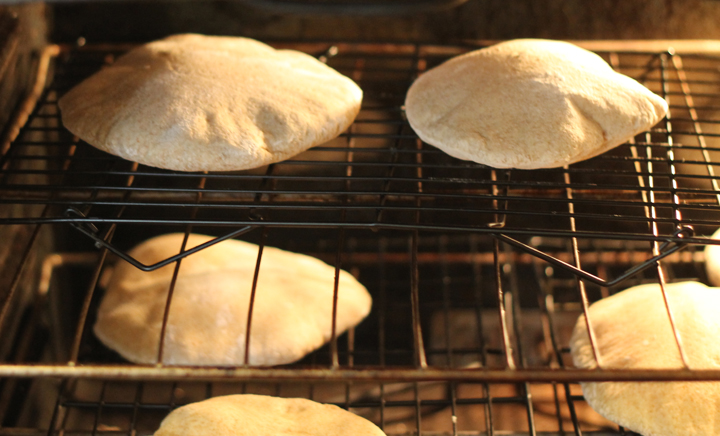 pita bread in oven