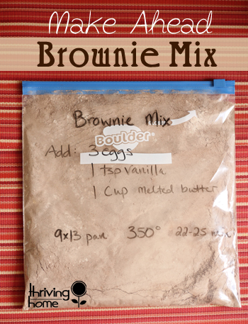 Whip up these dry brownie ingredients to keep on hand! You'll be so impressed with the taste and simplicity of putting it all together. Plus you're giving your family the gift of none of the added yucky stuff.