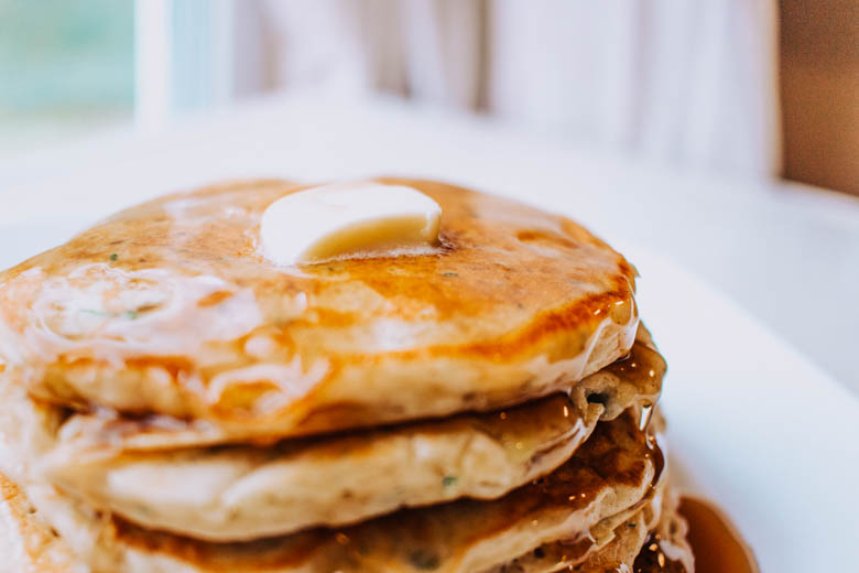 Zucchini pancakes with syrup