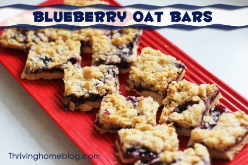 These blueberry oat bars have a buttery shortbread that cuts easily for sharing. On top of the shortbread is a sweet, but not too sweet, blueberry filling topped with an oats crumble topping.