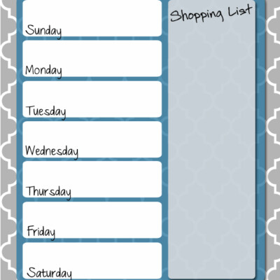 Free Printable: Weekly Menu Planner
