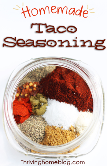 Homemade taco seasoning mix. Skip the additives and artificial ingredients and whip up a big batch of this FABULOUS natural taco seasoning mix. I'll never go back to buying those expensive little packets again! | Thriving Home