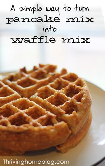 Simple way to transform pancake mix into waffle mix