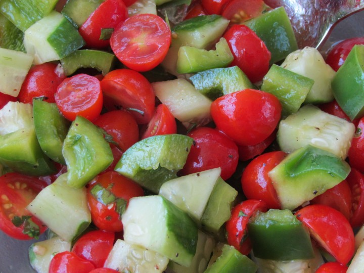 You can make this simple salad almost any way you like it. The simple dressing highlights the yummy, fresh produce.