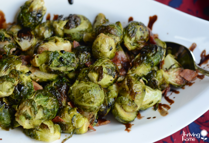 Roasted Brussels Sprouts with Bacon and Honey Balsamic Reduction