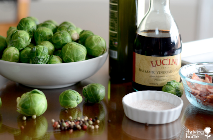 Sweet and salty roasted brussels sprouts are a super tasty, healthy side dish. Try them with bacon and this balsamic vinaigrette reduction.