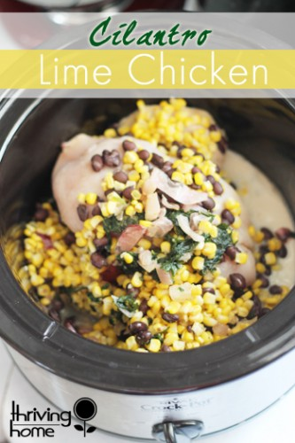 Cilantro lime chicken recipe. So easy to make! Dump ingredients into a slow cooker and come back hours later for a delicious, family friendly healthy dinner. | Thriving Home