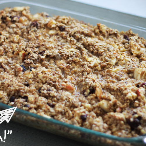Baked Oatmeal with Fruit can be a hearty, healthy breakfast or dinner. It's warm and comforting with a little milk over the top.