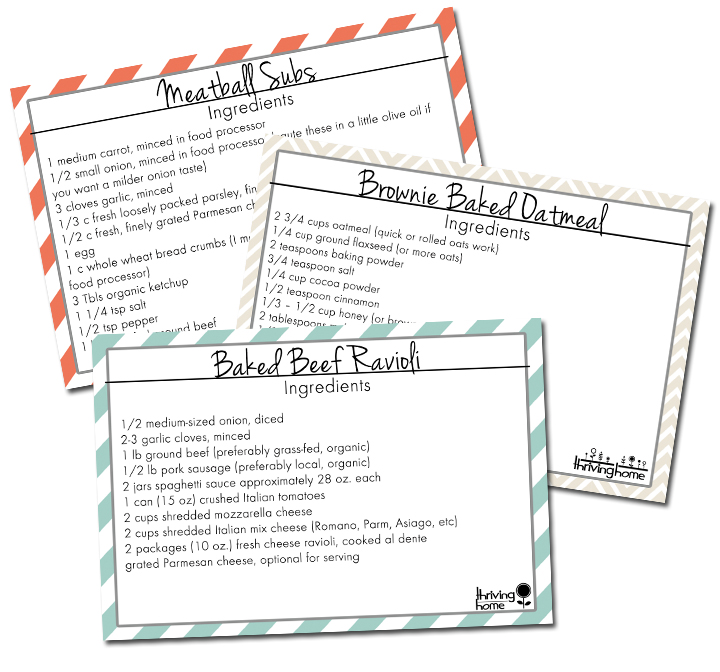 5 Printable Recipe Cards (3x5 inches)
