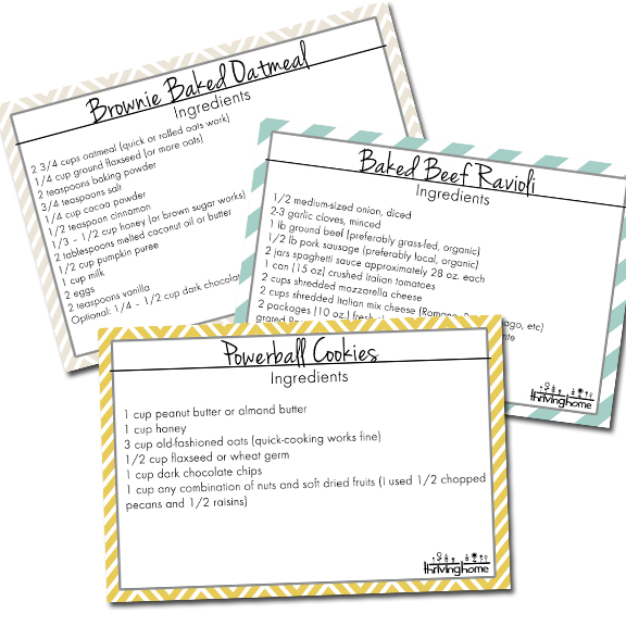 5 Printable Recipe Cards (4x6 inches)