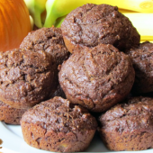 Whole Wheat Chocolate Pumpkin Banana Muffi
