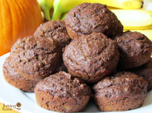 Whole Wheat Chocolate Pumpkin Banana Muffins